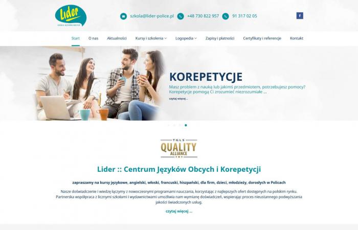Strona www dla szkoły językowej