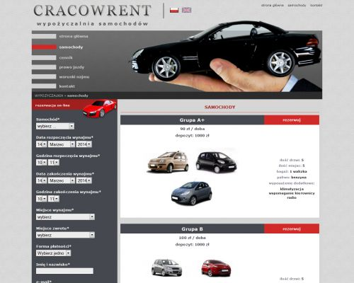 Strona www dla CRACOWRENT - wypożyczalnia samochodów