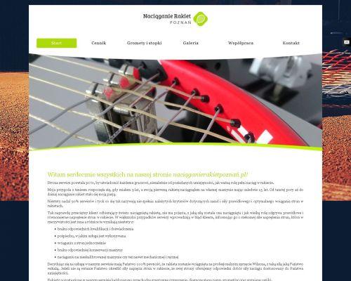 Strona internetowa promująąca usługę naciągania rakiet