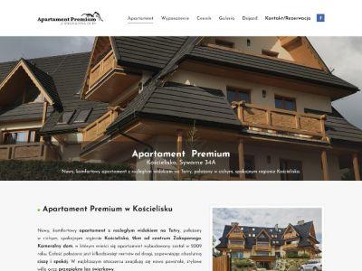 Strona www prezentujaca apartament do wynajęcia