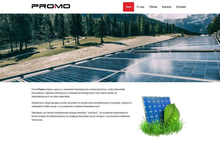 Strona internetowa dla firmy z branży fotowoltaiki