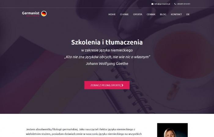 Strona internetowa dla tłumacza języka niemieckiego