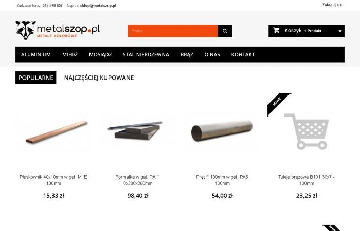 Sklep internetowy z metalami kolorowymi