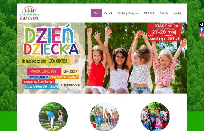 Strona www dla Parku Rozrywki