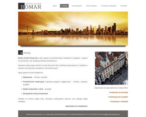 Strona www dla Bomar Invest Group