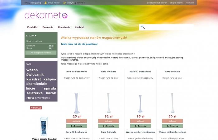 Sklep internetowy dla firmy Dekornet