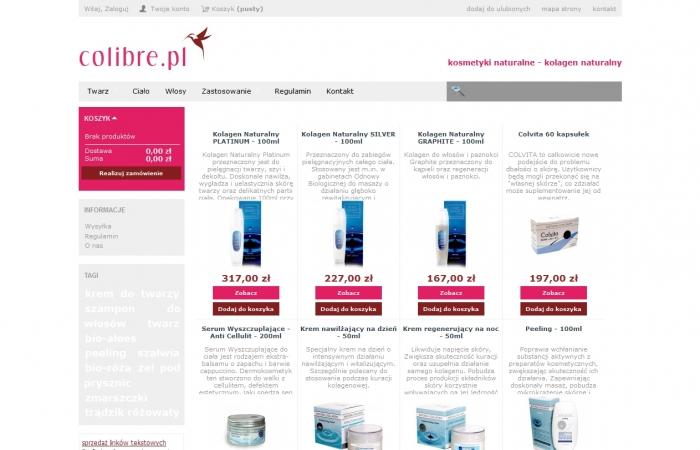 Sklep internetowy dla firmy Colibre